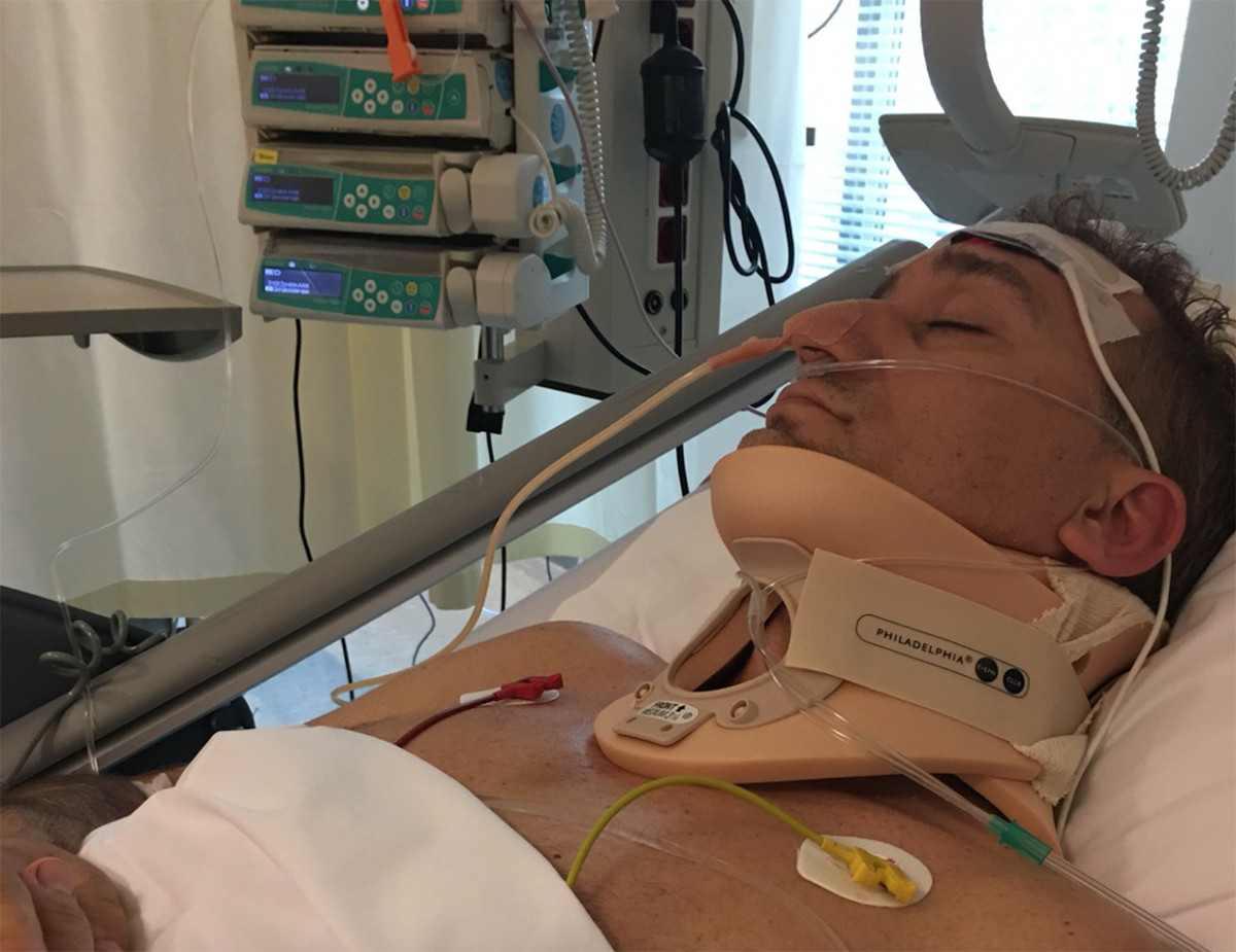 Paul van Dyk in the hospital after his near-fatal stage fall in 2016