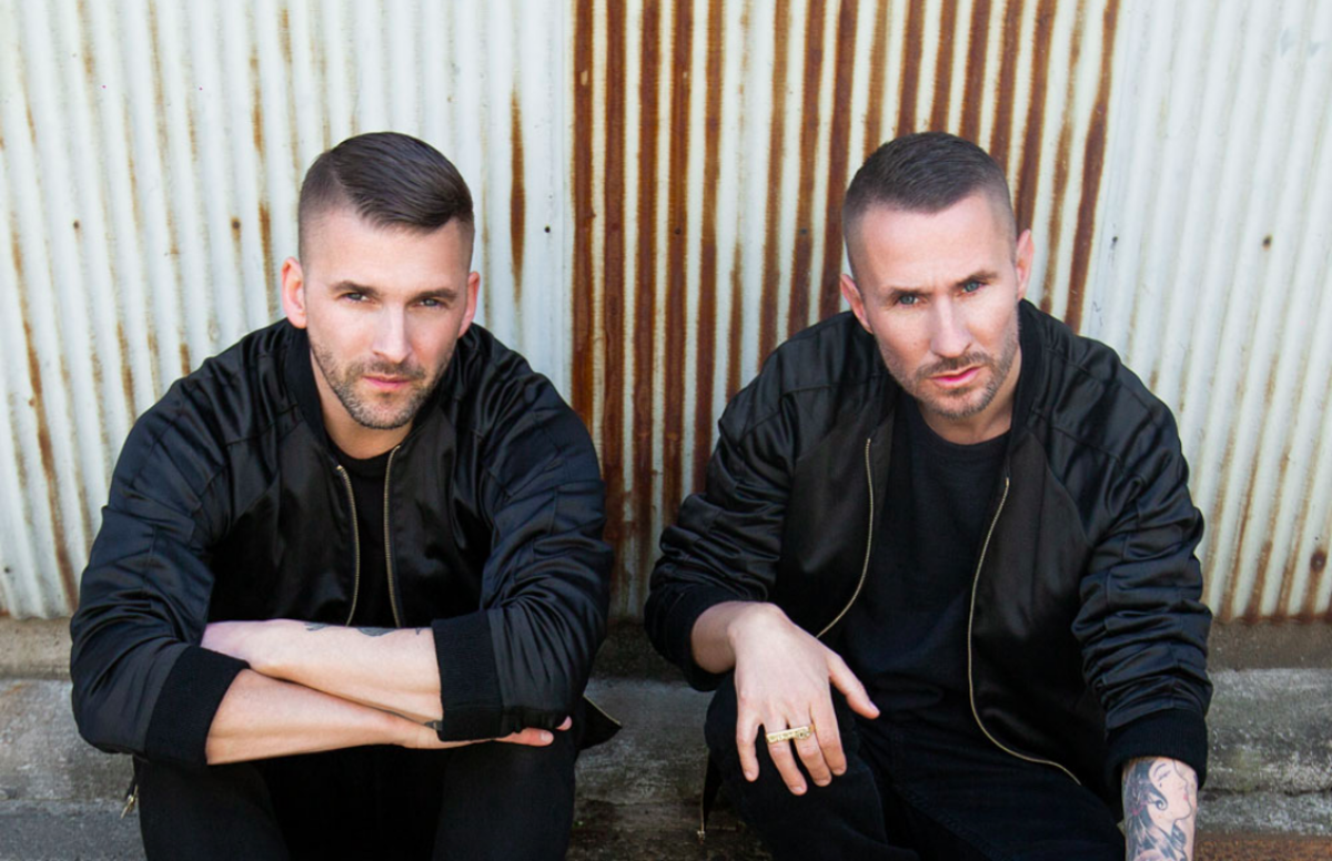 Color press photo of Swedish DJ/producers Galantis A.K.A. Christian Karlsson and Linus Eklöw.