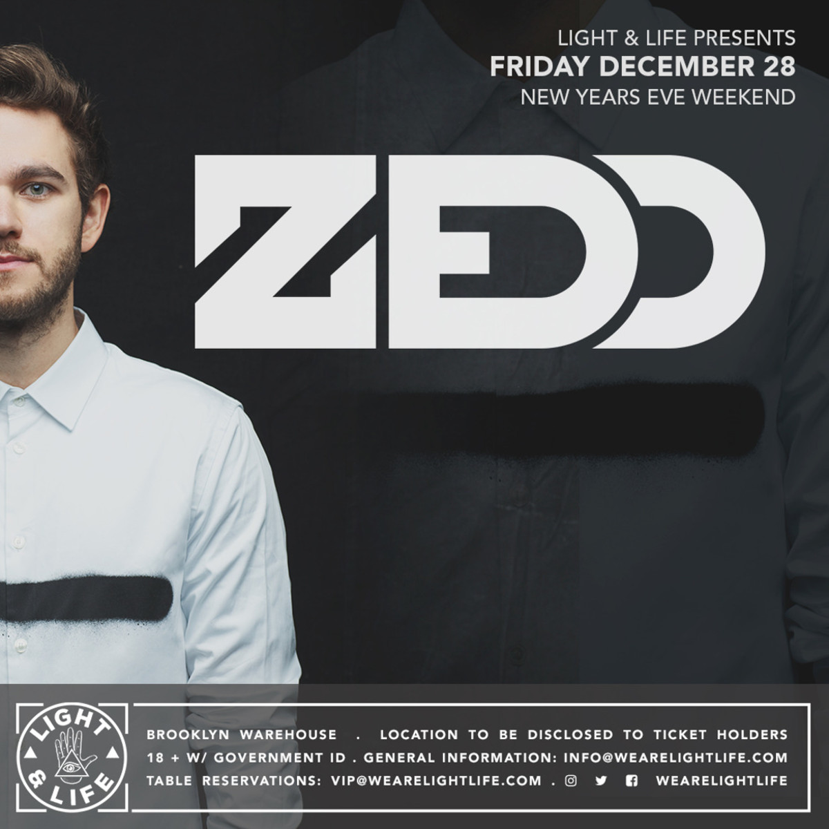 Zedd NYE weekend in Brooklyn presented by Light & Life