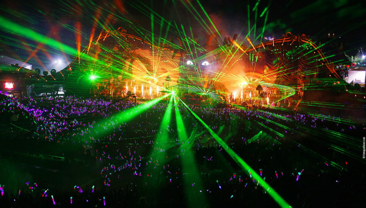 Laser Lightshow at Tomorrowland Music Festival
