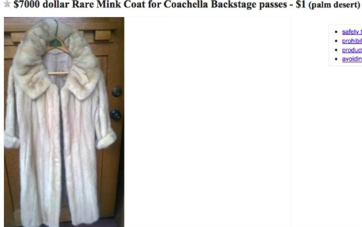 Craigslist Ad: Trading Rare Mink Coat for Coachella Pass