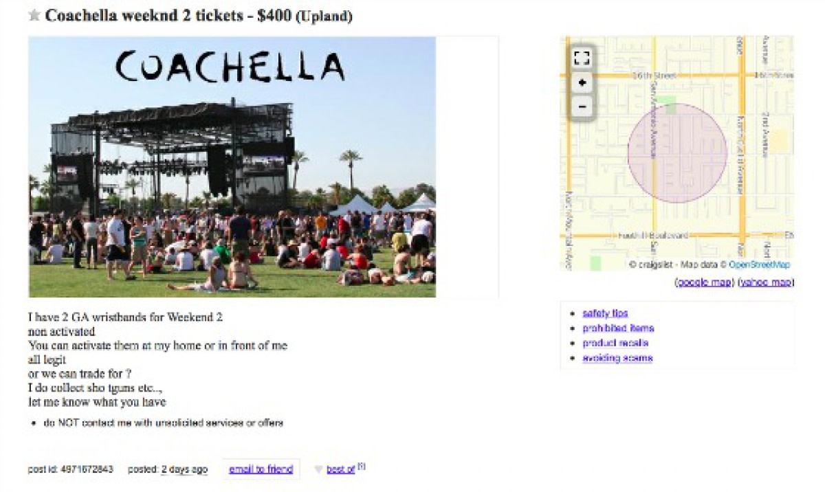Craigslist Ad: Trading Shotgun for Coachella Tickets