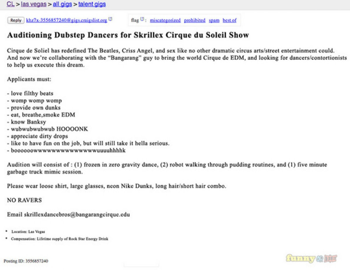7 of the greatest edm-related posts on craigslist - edm - the