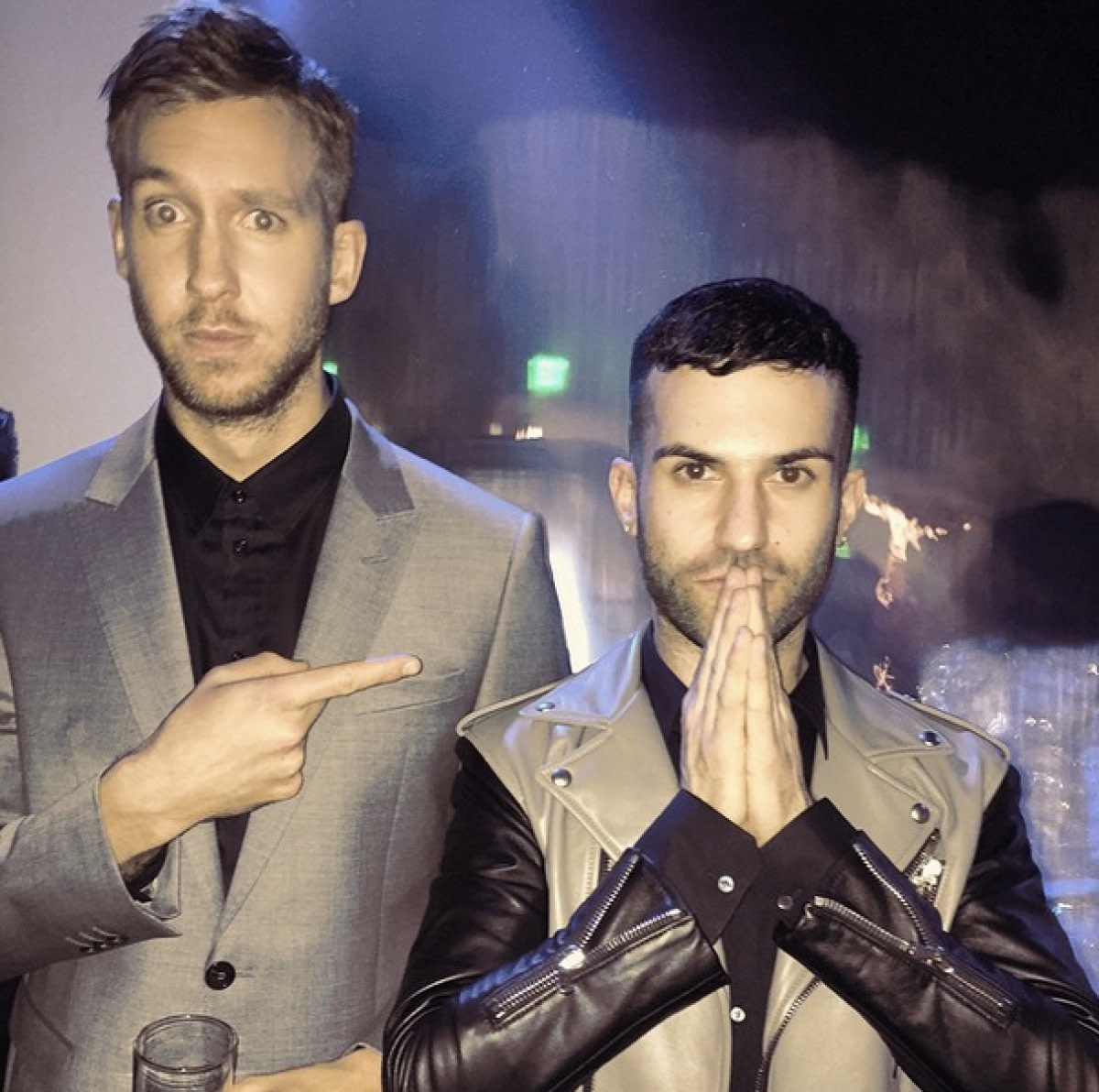 A-Trak and Calvin Harris at a bar