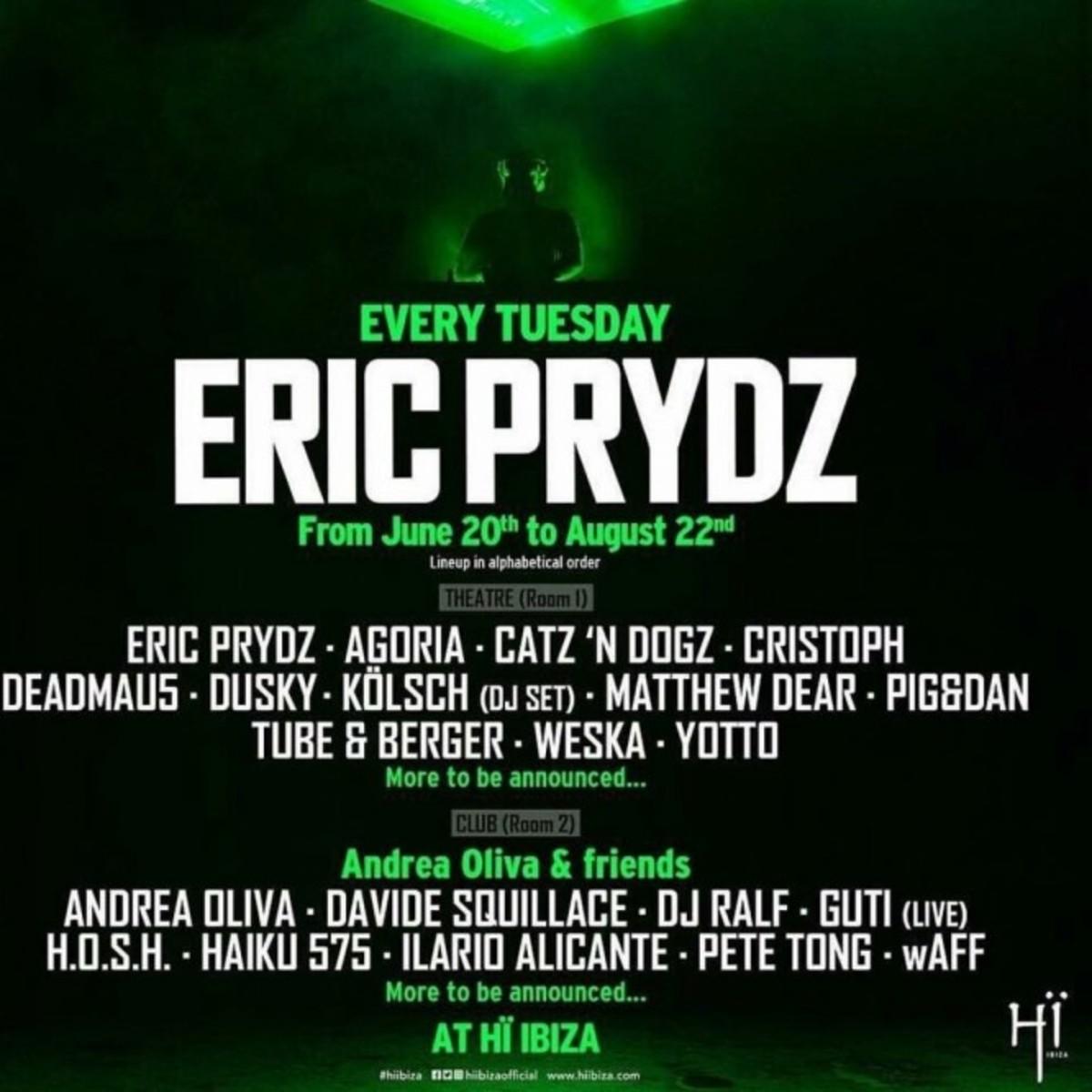 Eric Prydz - 2017 Ibiza Schedule