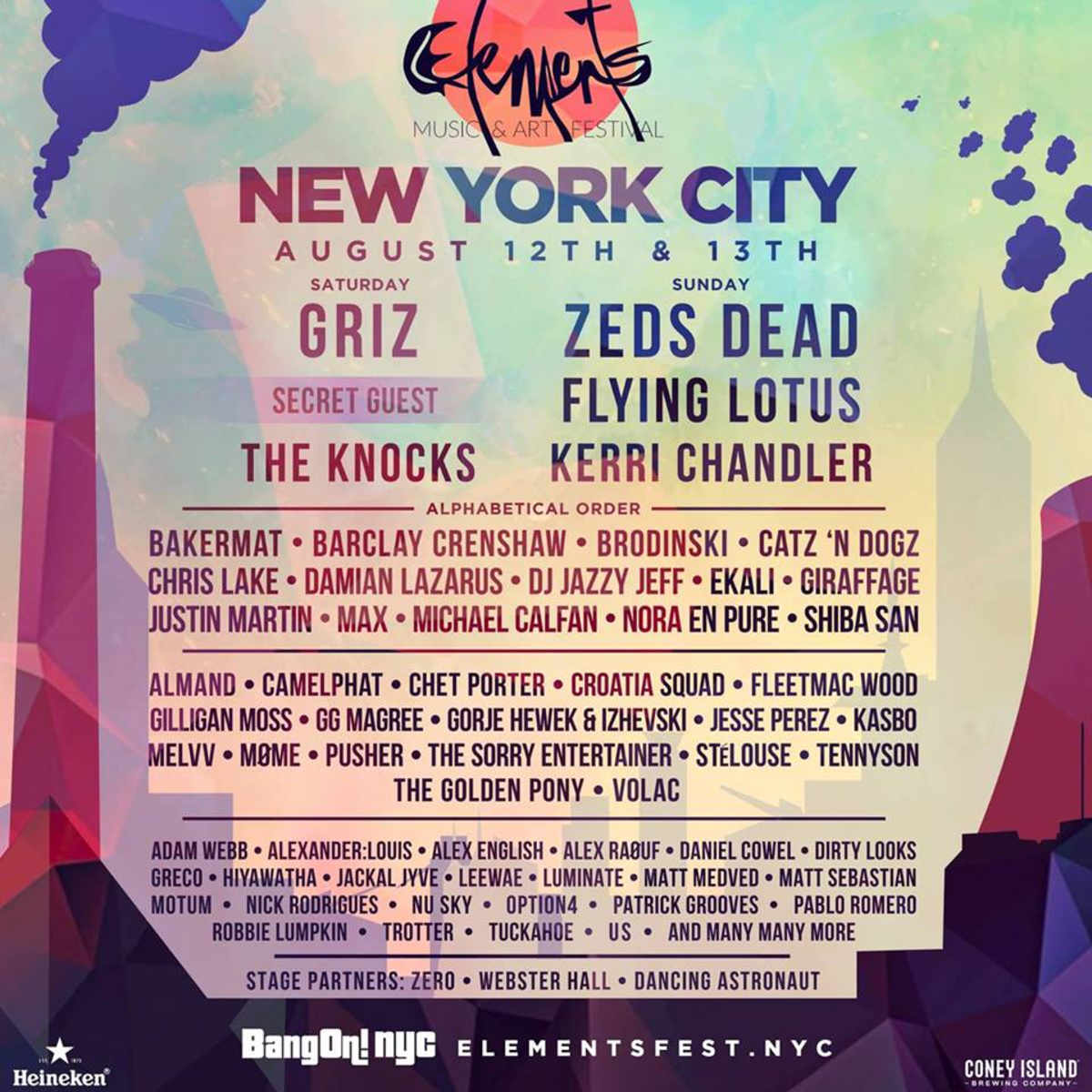 Elements Festival NYC Lineup 2017