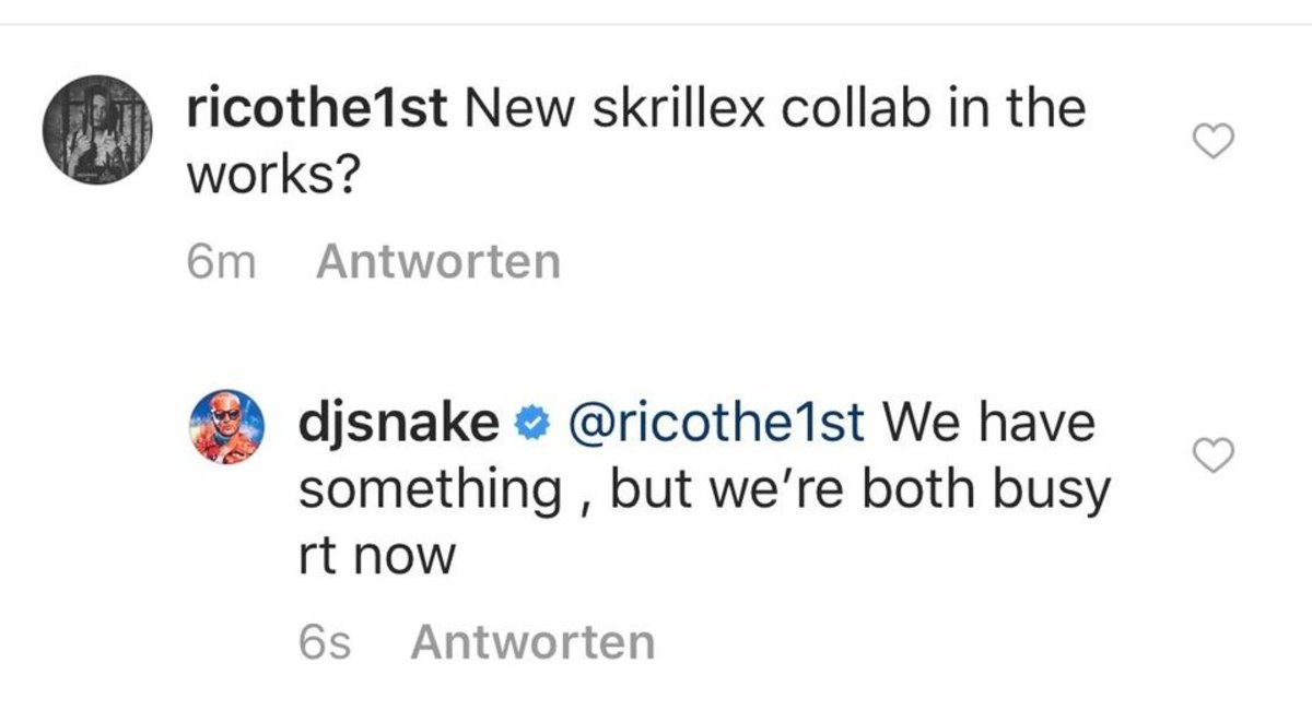 A comment on one of DJ Snake's Instagram posts revealing that he and Skrillex have a 2019 collaboration in the works.
