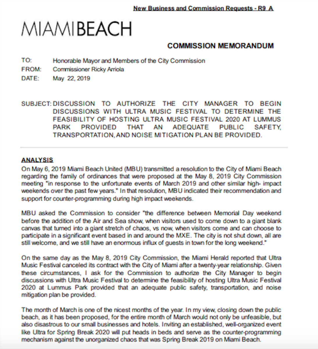 A Miami Beach Commission Agenda Item regarding Ultra Music Festival's potential move to Lummus Park.