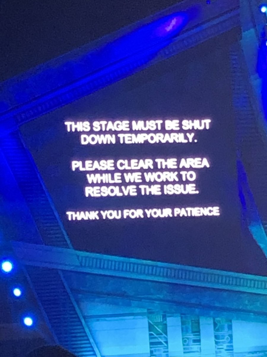 The second message that appeared at the main stage.