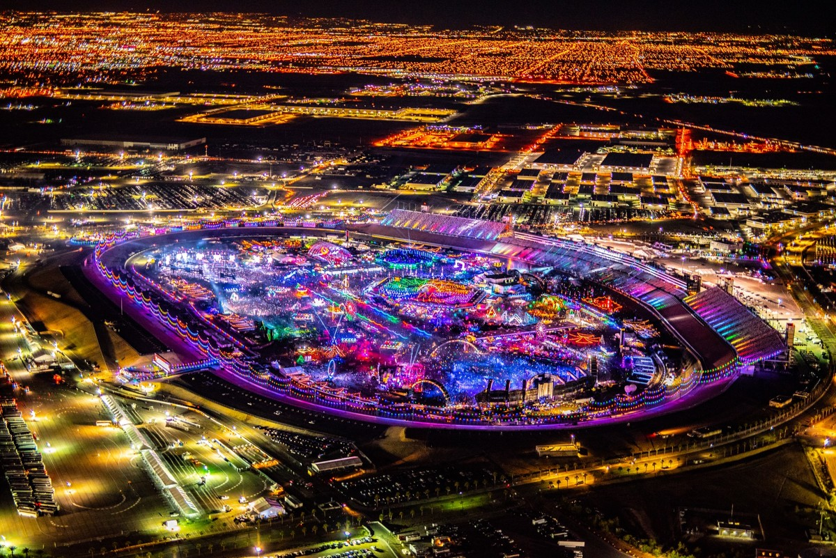 Aerial shot of EDC Las Vegas 2019.