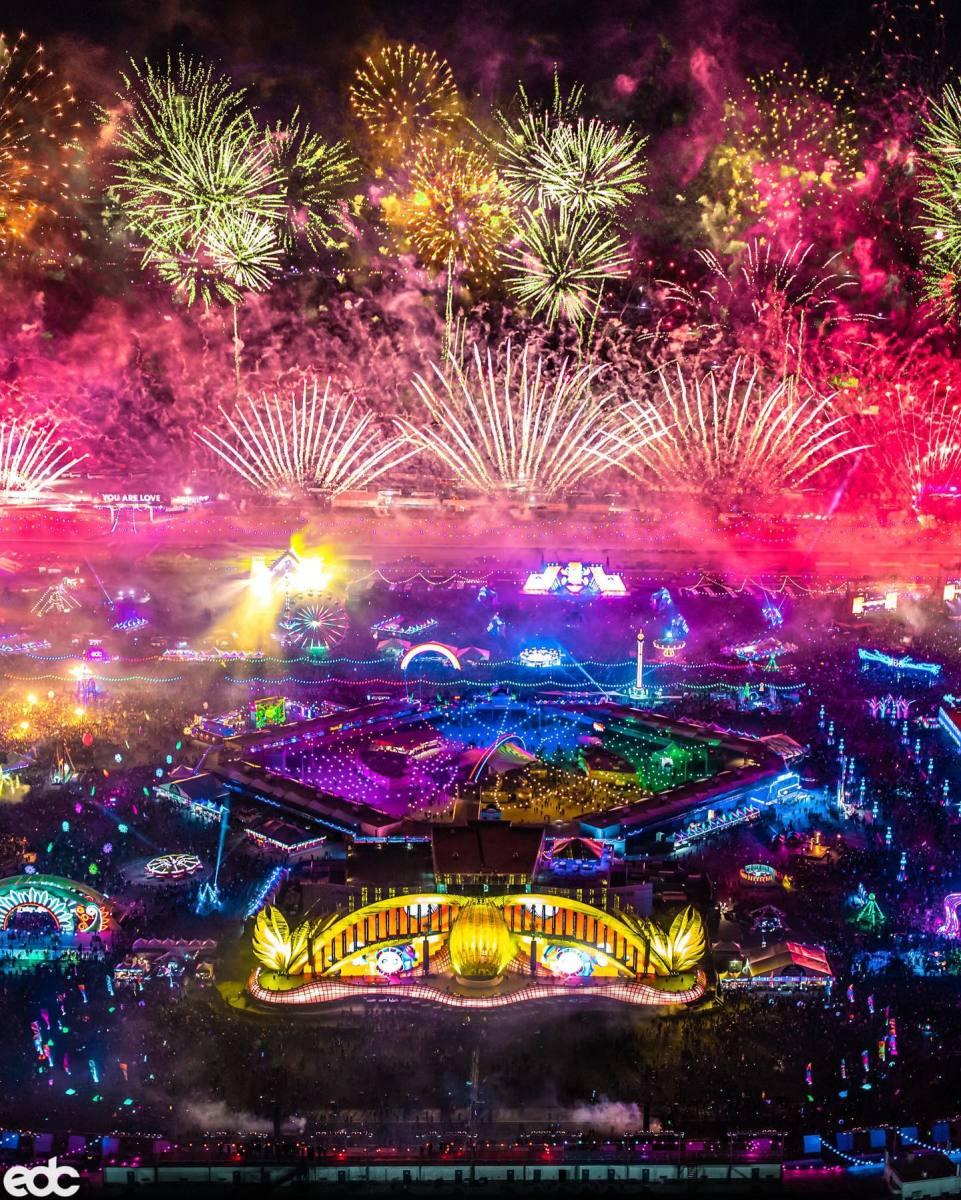 Firework show over cosmicMEADOW.
