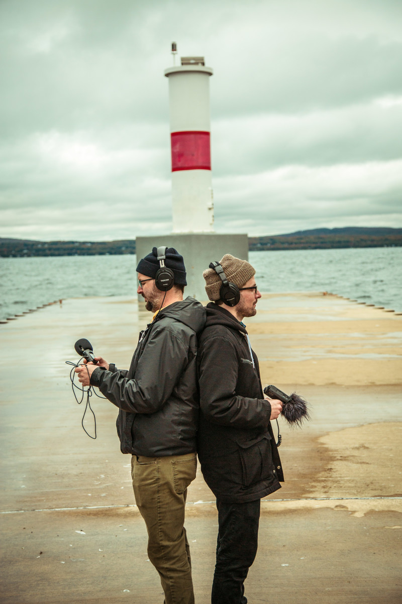 Two engineers capture audio in the wild of Michigan.