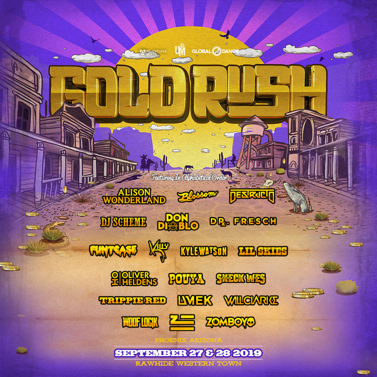 Goldrush Festival Arizona 2019 Phase 1 lineup