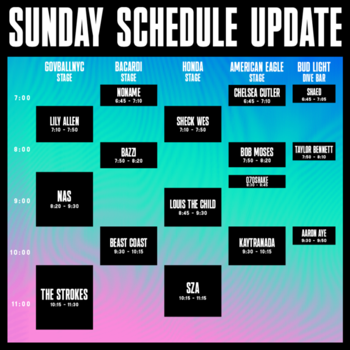 Governors ball 2019 revised sunday schedule