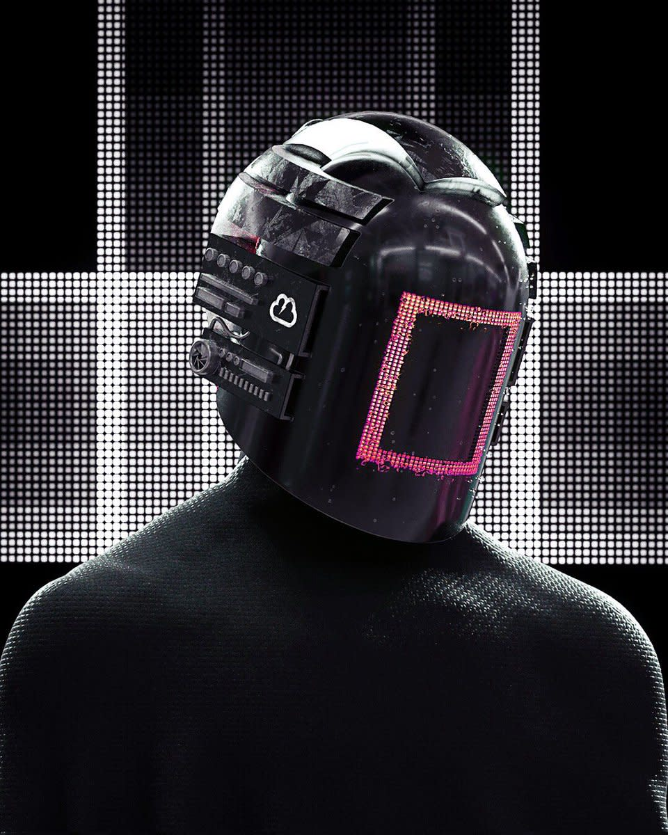 KLOUD In Robot Helmet With Red Square Face Plate (LOWLY / TRap Nation)