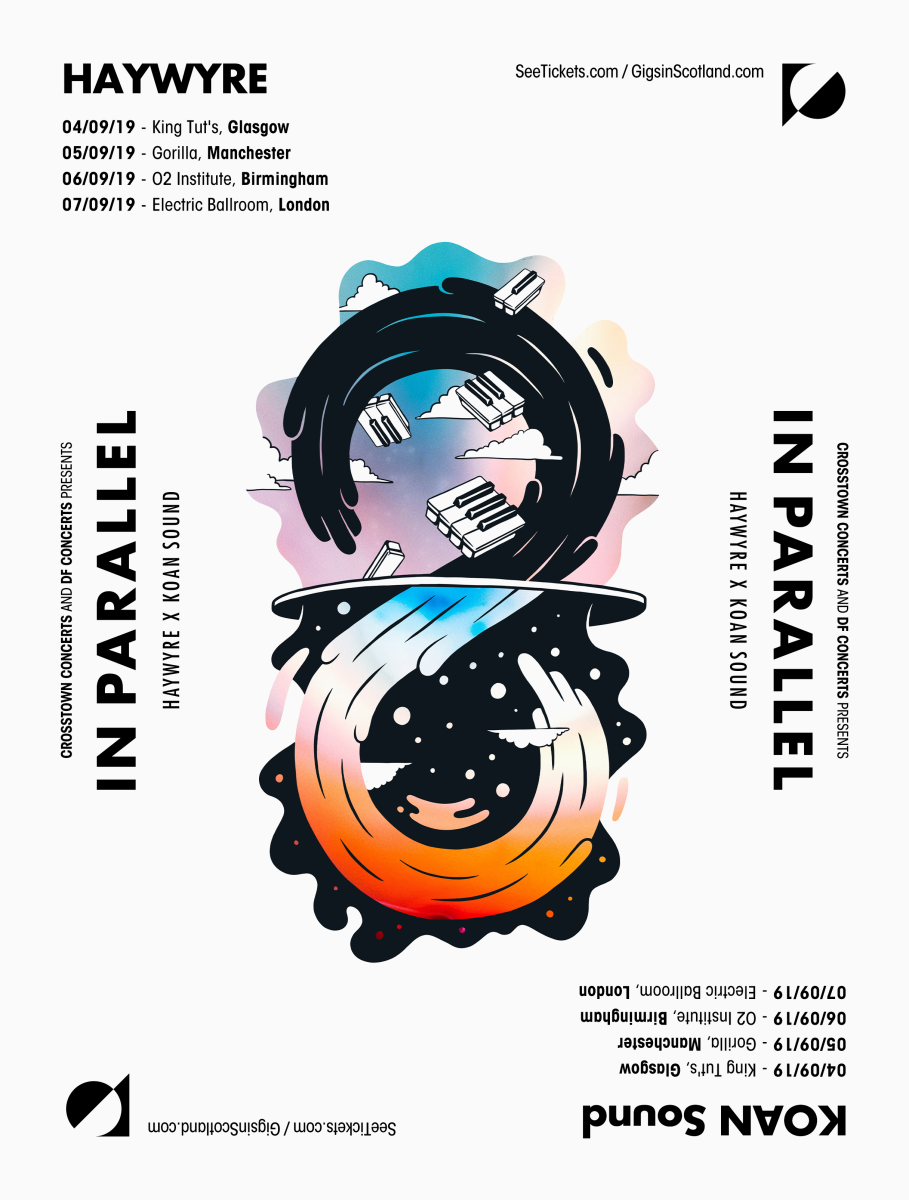 "Haywyre & KOAN Sound Tour Flier for the UK ""In Parallel"" Tour"