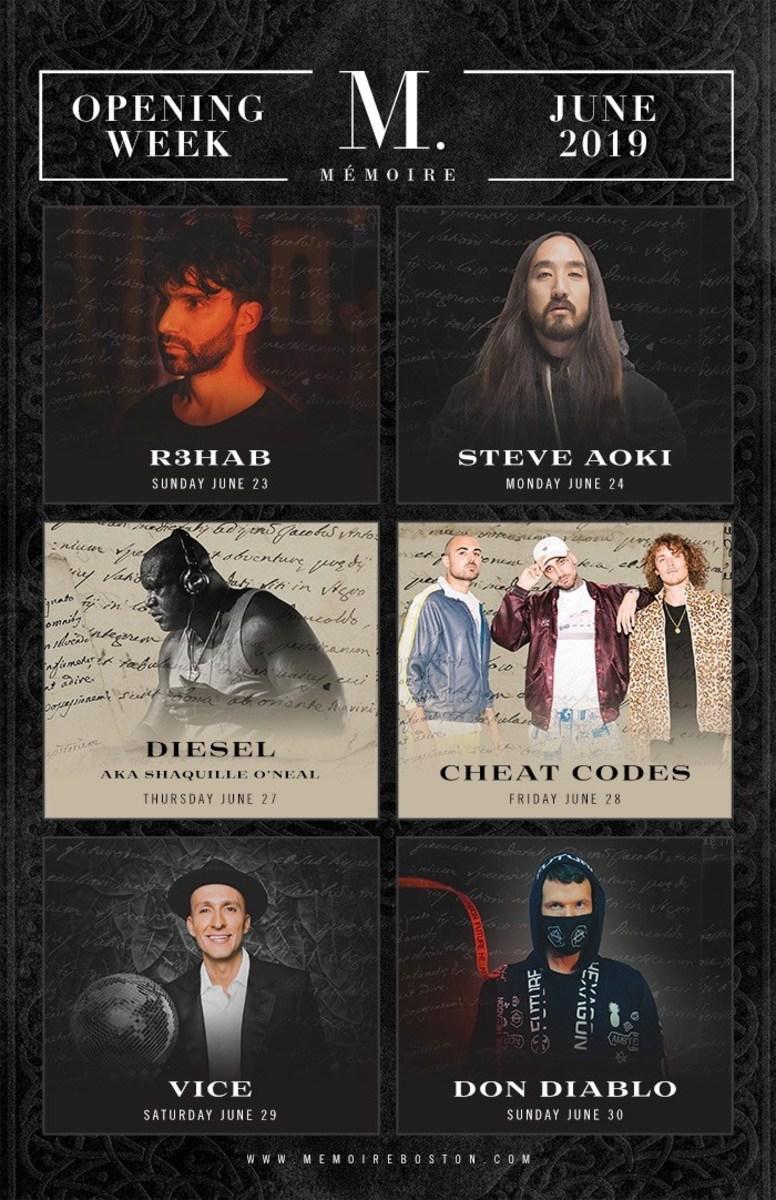 Memoire Nightclub Grand Opening Lineup w/ R3HAB, Steve Aoki, DJ Diesel (SHAQ), Cheat Codes, Vice, and Don Diablo