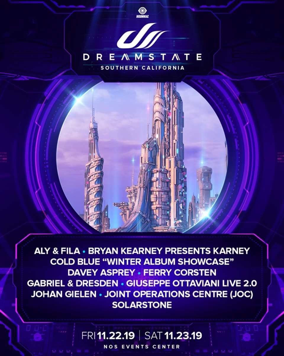"The first lineup announcement ""batch"" for Dreamstate SoCal 2019."