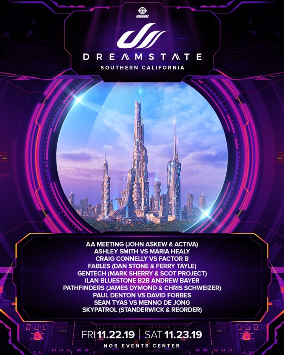 "The fifth lineup announcement ""batch"" for Dreamstate SoCal 2019."