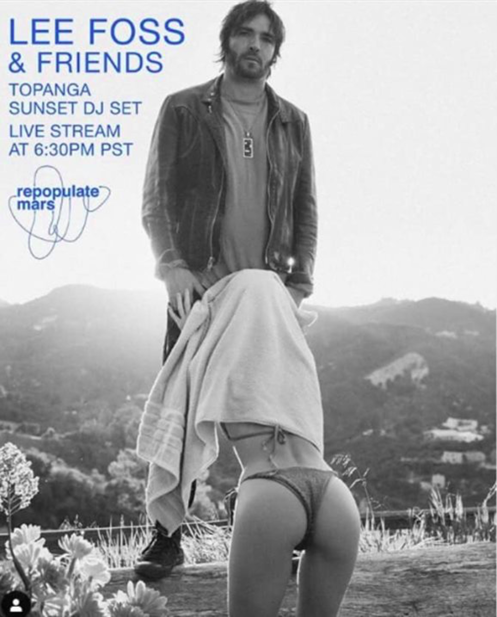 Lee Foss' controversial and suggestive flyer for his Topanga Canyon live stream set which depicts a woman giving him a blow job with a towel on.