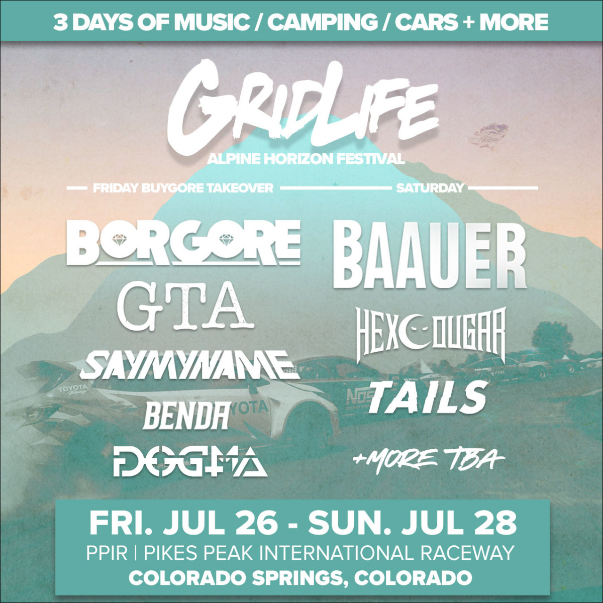 #GRIDLIFE - Alpine Horizon Festival Artist Lineup (Borgore, GTA, SayMyName, Benda, Dogma, Baauer, Tails)