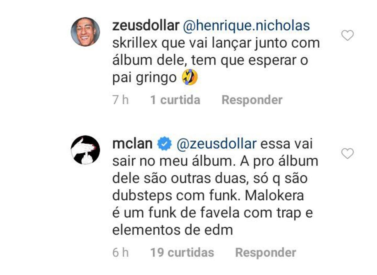 An Instagram comment by Brazilian emcee Lan (real name Caio Alexandre Cruz) in which he talks about his collaborations with Los Angeles DJ/producer Skrillex (real name Sonny Moore).