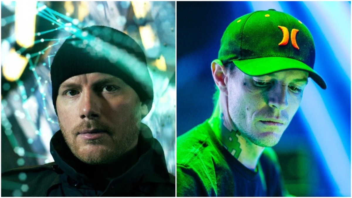 A split-screen image of DJ/producers Eric Prydz and deadmau5 (real name Joel Zimmerman).