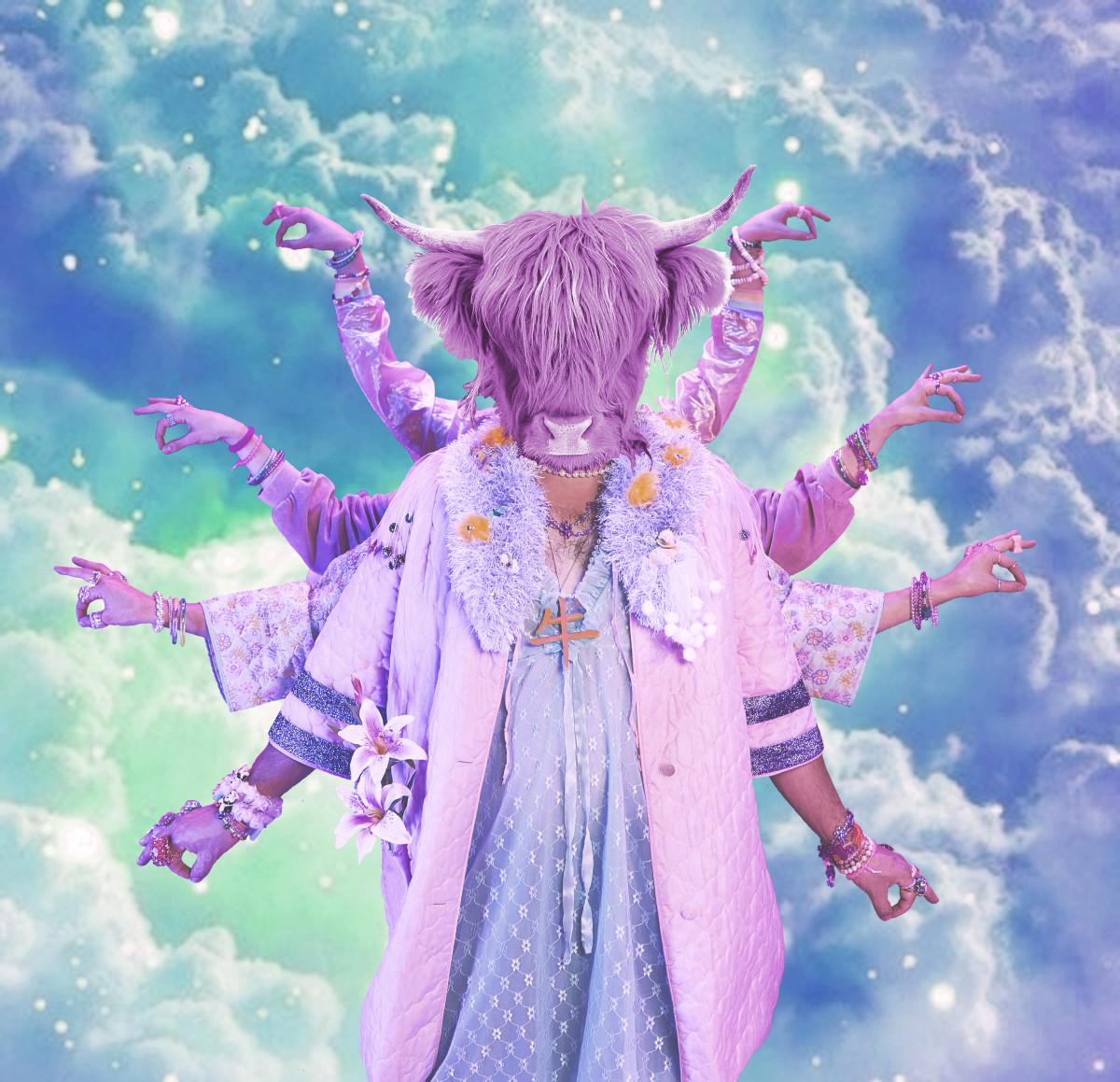 C.O.W. 牛 Logo - Purple Cow on Cloud Background