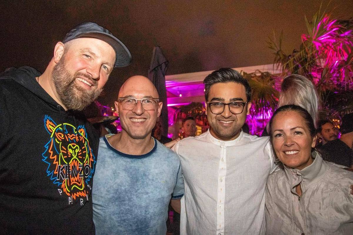 Claude VonStroke, left, with Ketan Rahangdale, second from right.