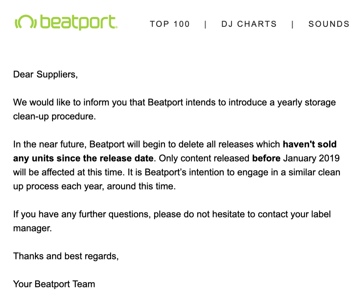 Beatport statement sent to music suppliers