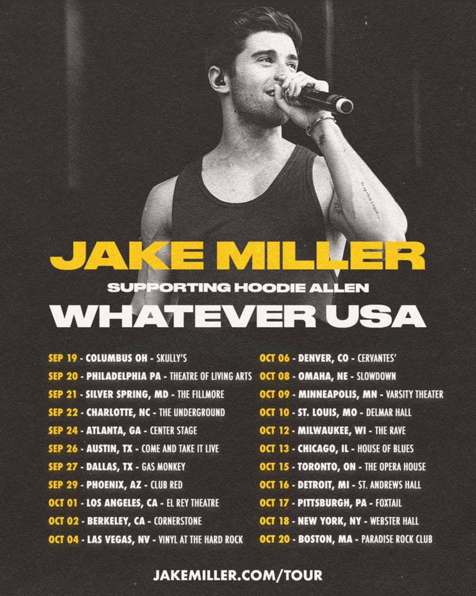 Jake Miller Hoodie Allen Whatever USA 2019 Tour