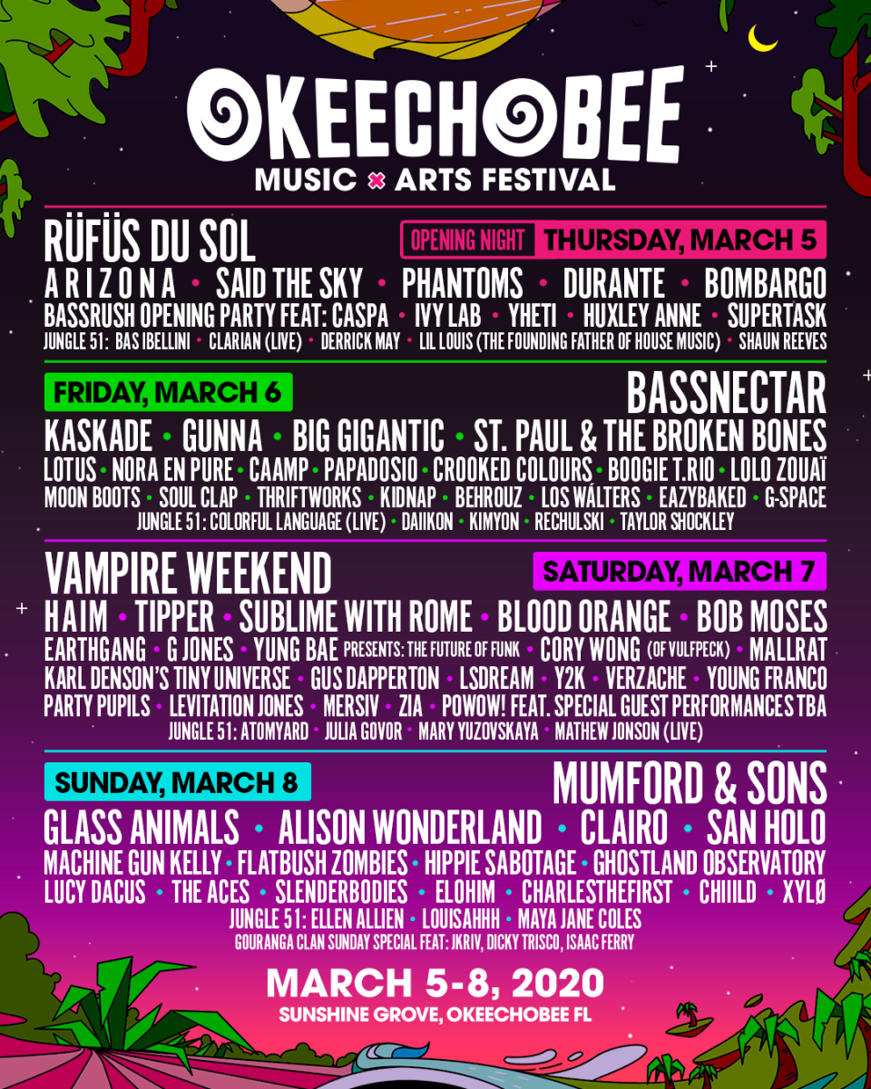 Okeechobee Music & Arts Festival 2020 lineup flyer.