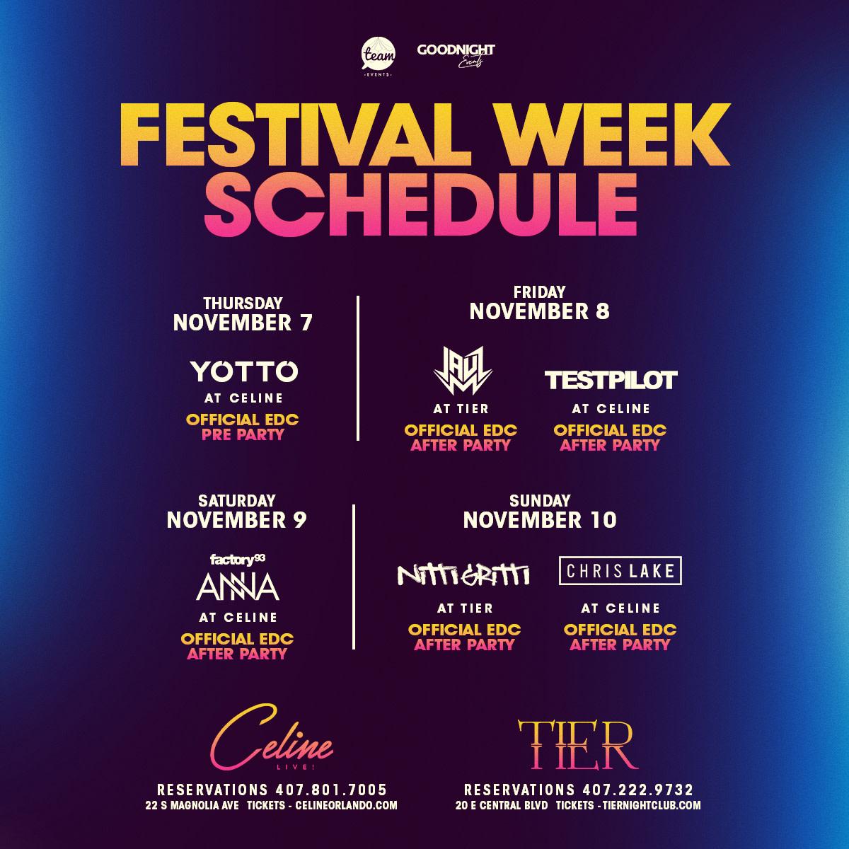 EDC Orlando - Official Afterparty Schedule (YOTTO, Jauz, Testpilot, Nitti Gritti, Chris Lake)