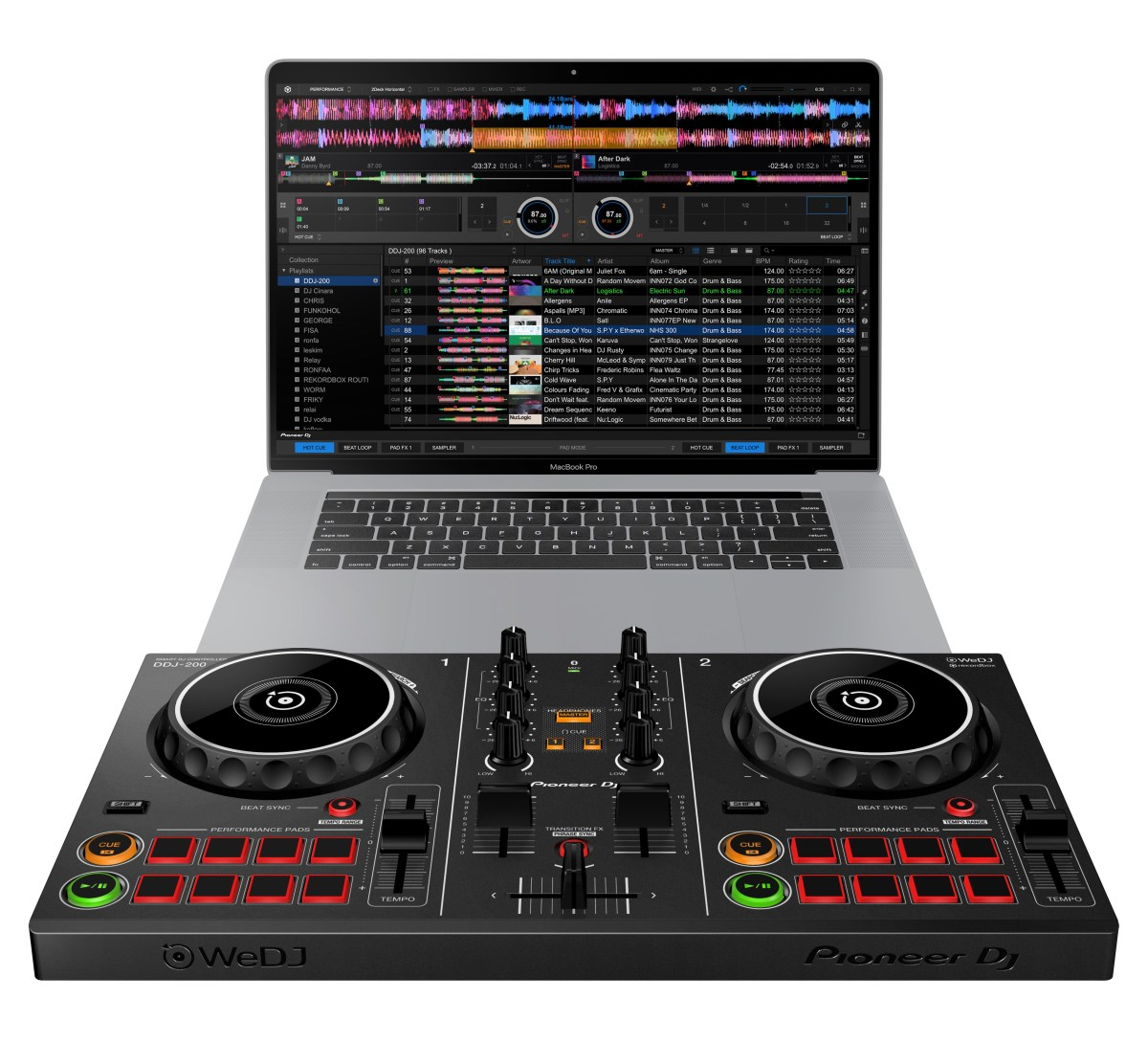 Pioneer DJ DDJ-200 Beginner DJ Controller with laptop