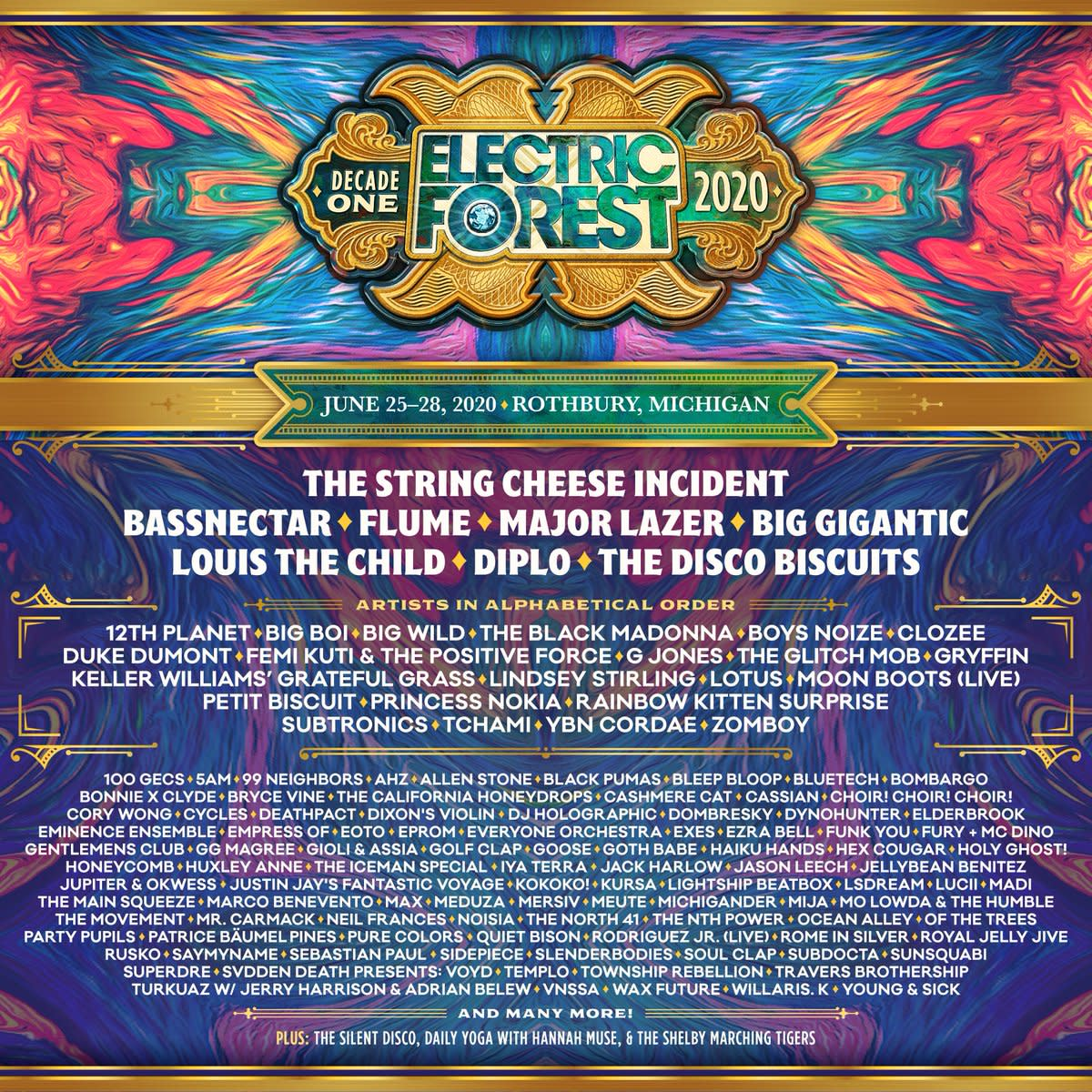 Electric Forest 2020 lineup.