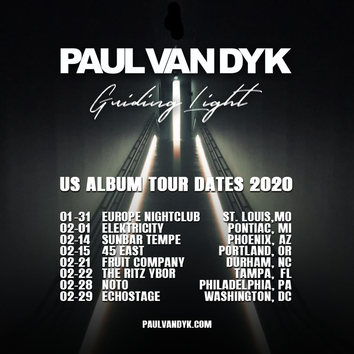 Paul van Dyk Guiding Light US Album Tour Dates 2020