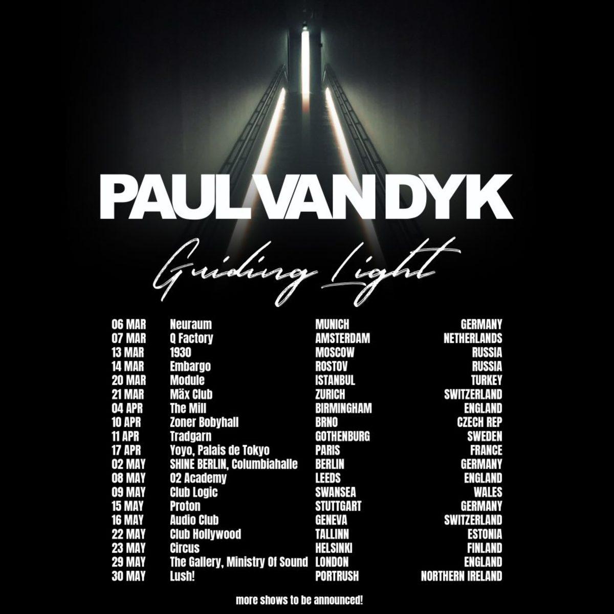 Paul van Dyk Guiding Light Global Tour Dates 2020