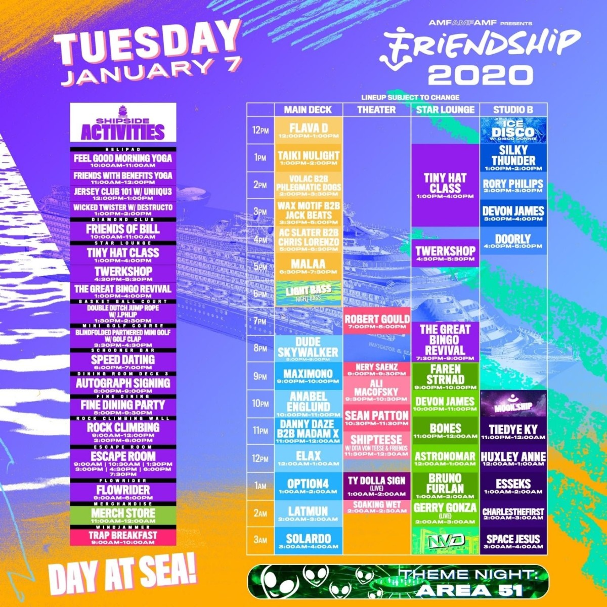 FriendShip 2020 Lineup by Day Tuesday