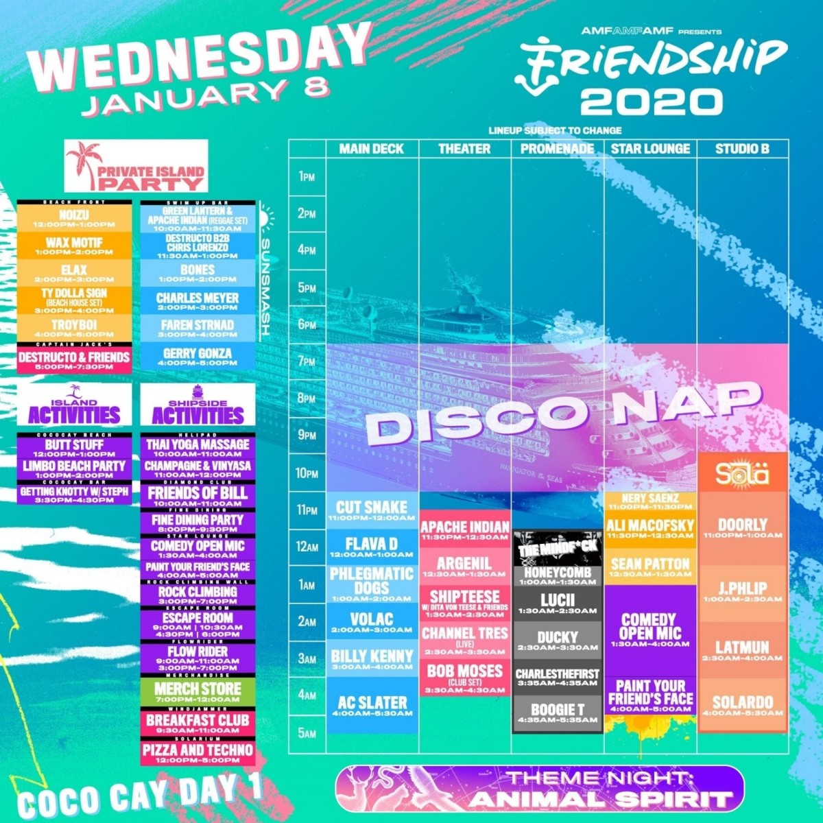 FriendShip 2020 Lineup by Day Wednesday