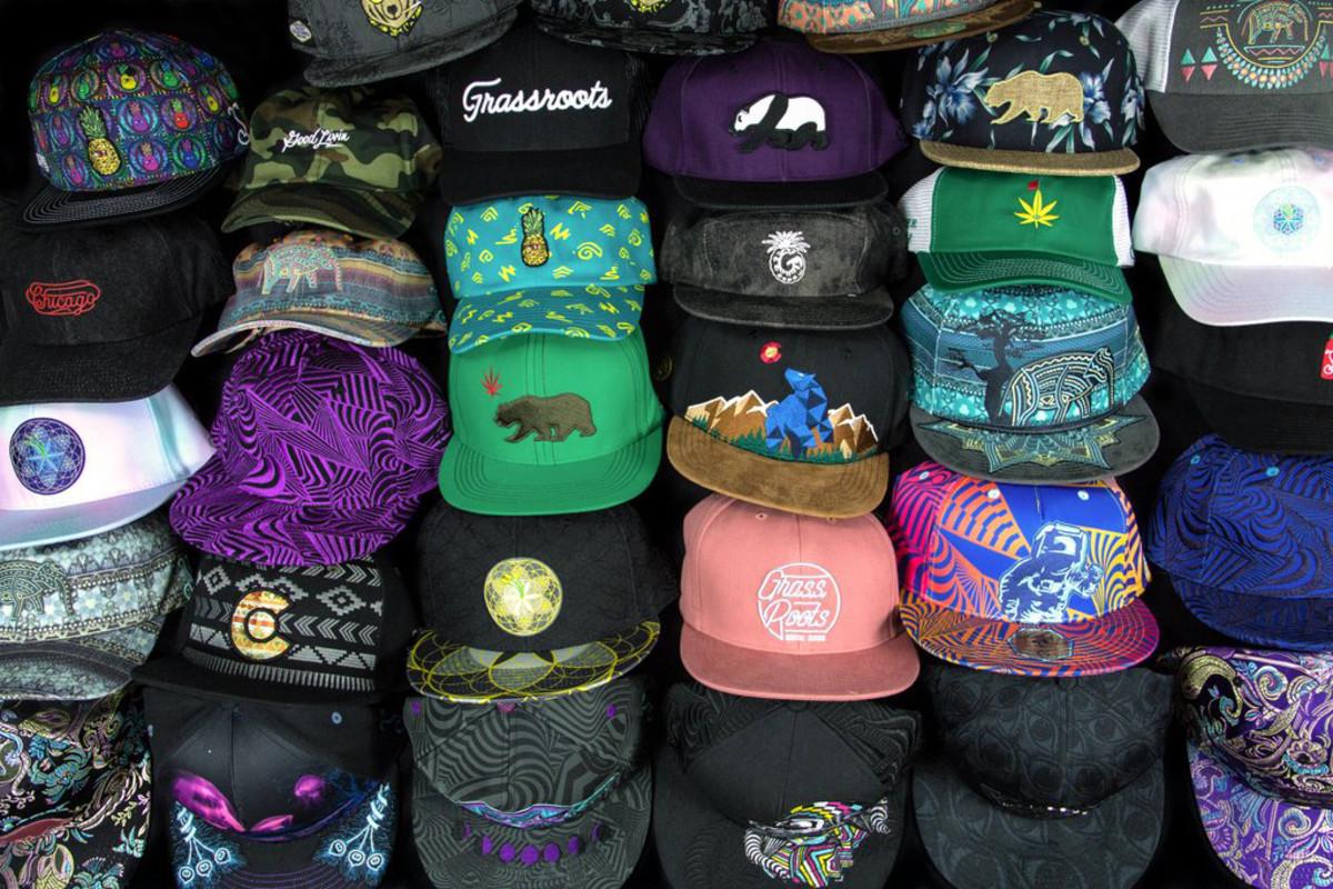 a wall of grassroots california hats