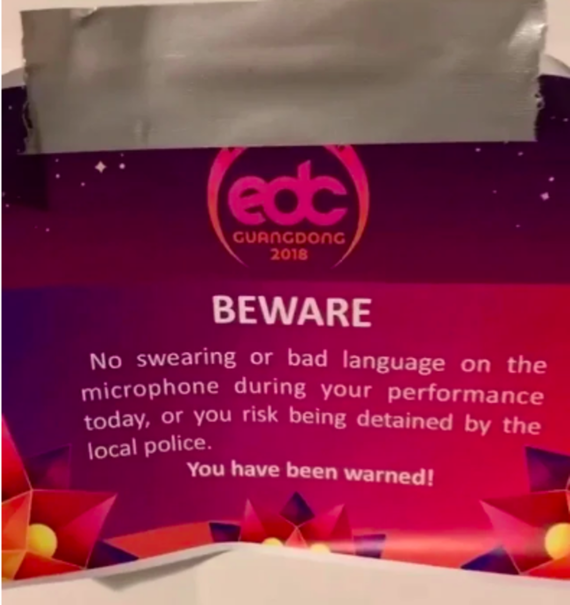 A notice warning  EDC Guangdong headliners not to swear on the mic during their performances.