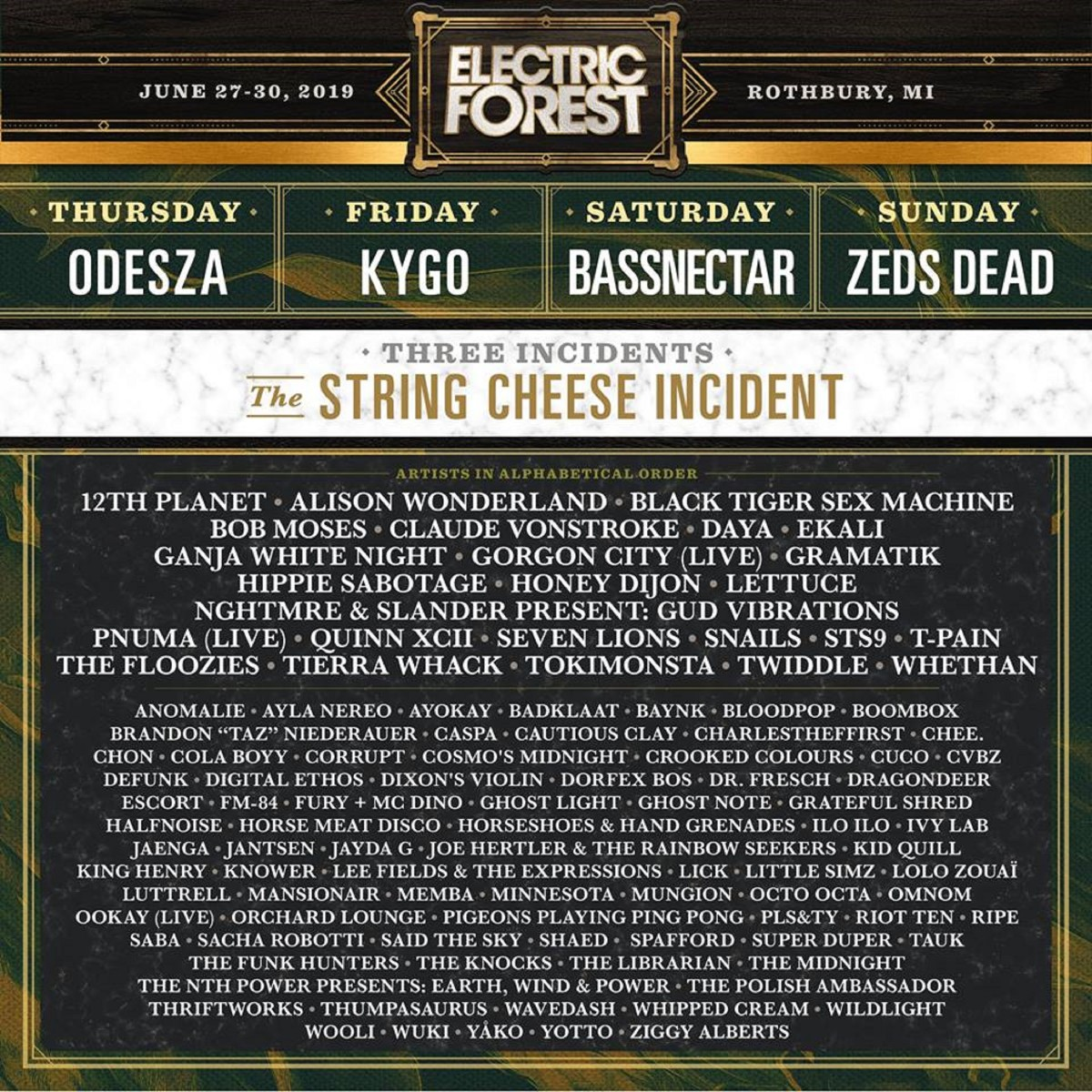 Electric Forest Lineup 2019