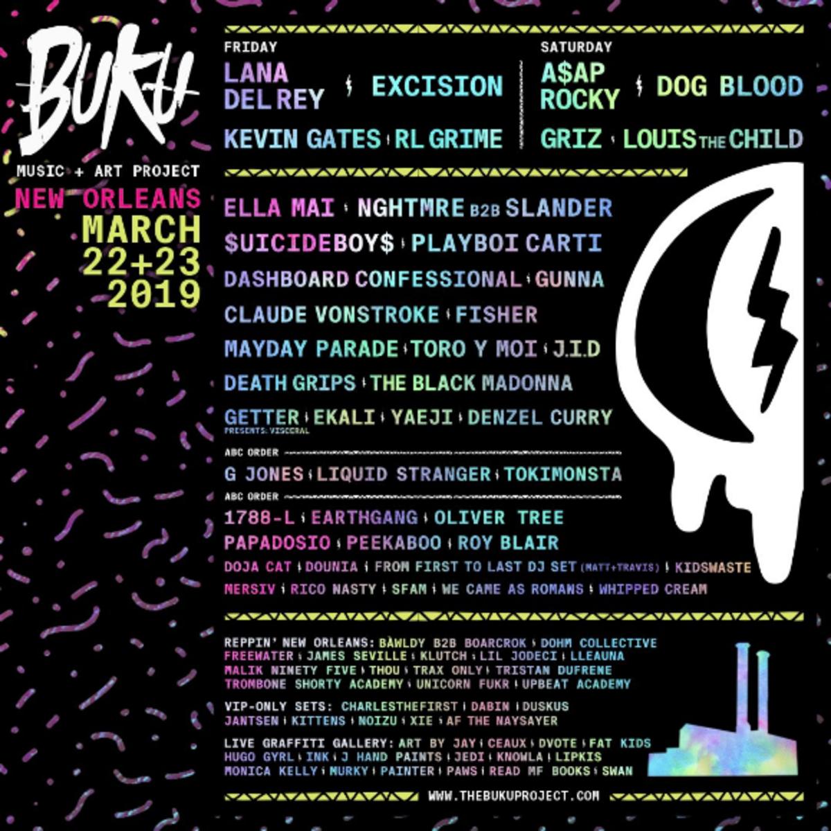 Buku Music + Art Project 2019 Lineup.
