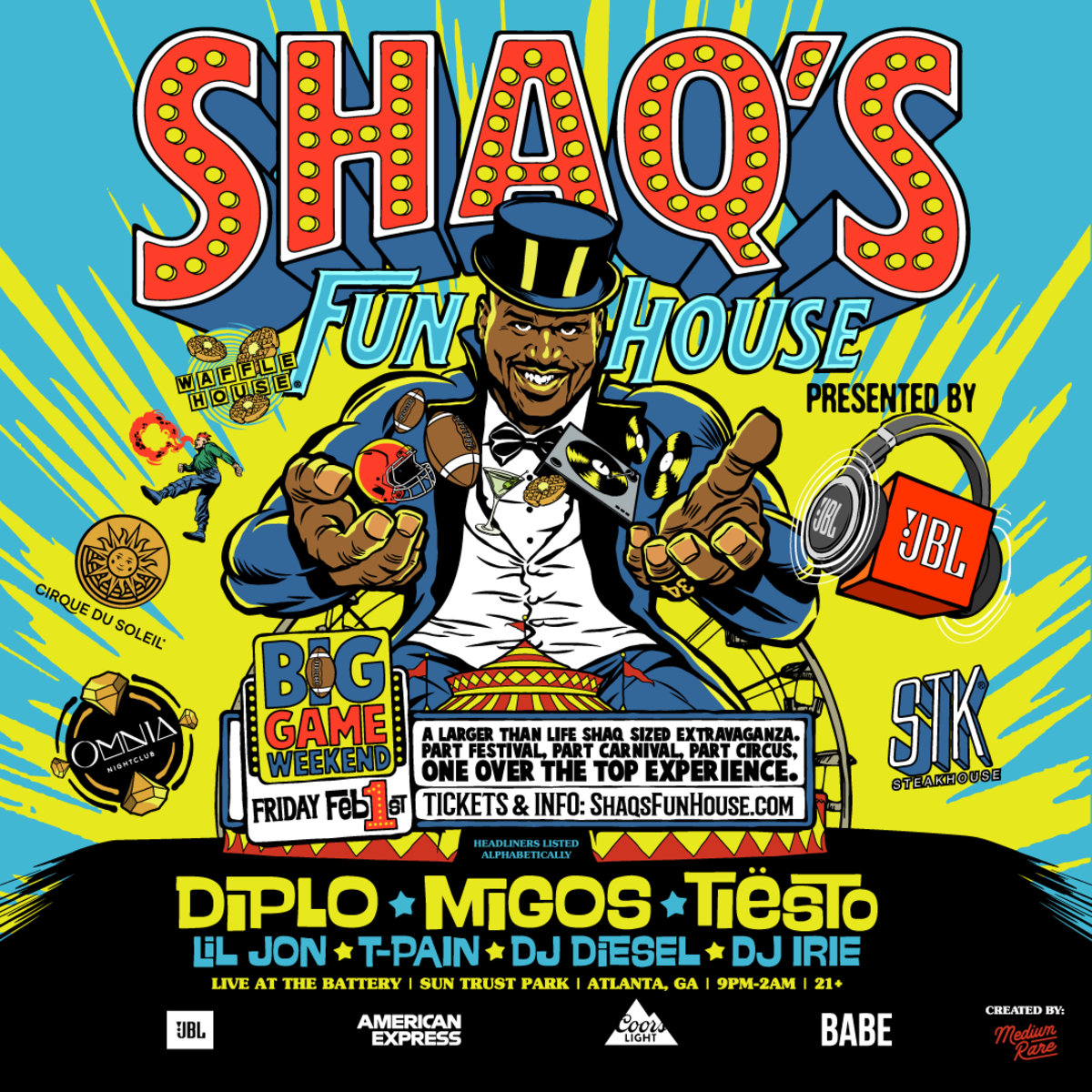 Shaq's Fun House flyer for Atlanta 2019 event featuring Diplo, Migos and Tiësto.