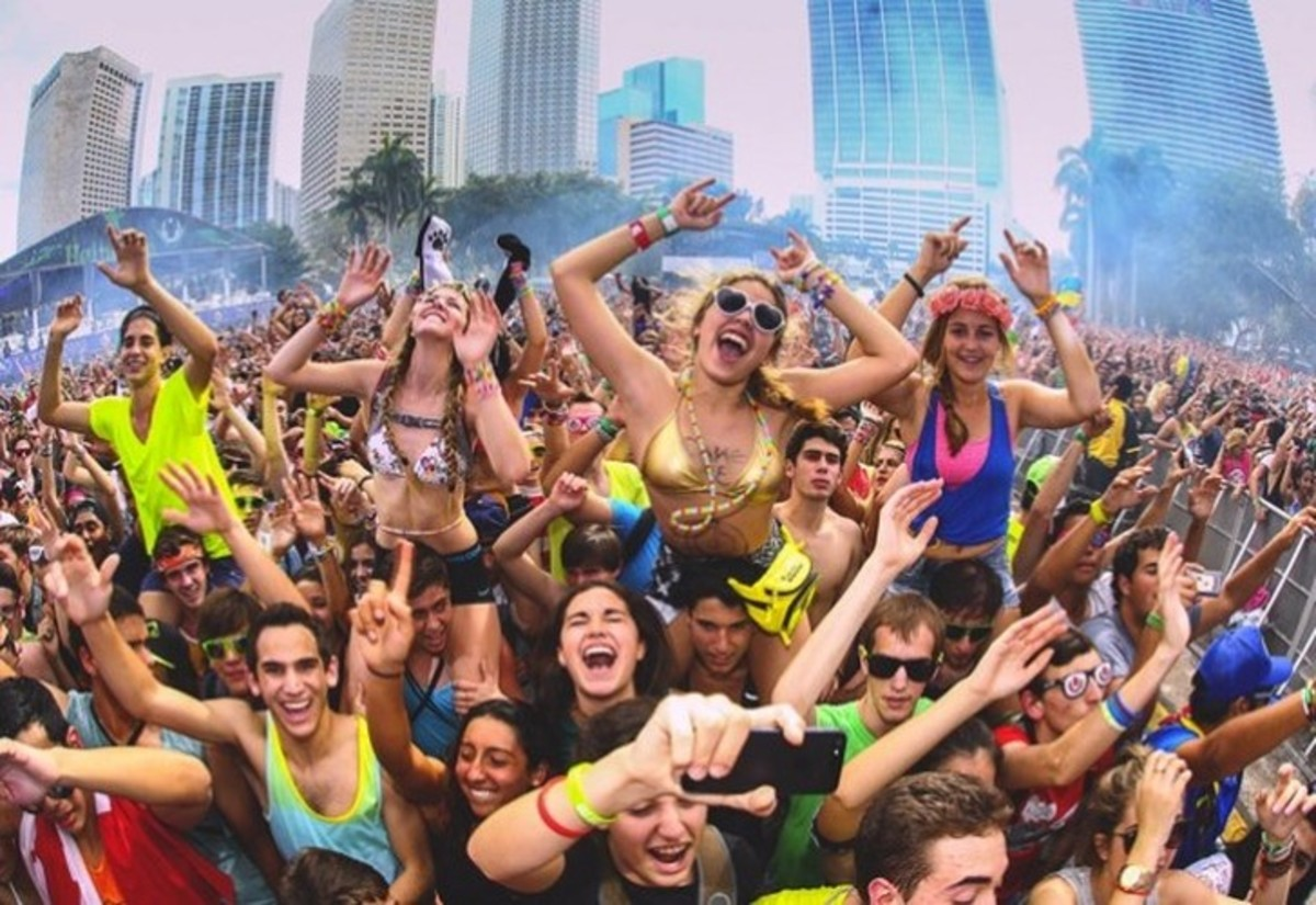 Festival-goers front row at Ultra Music Festival in Miami, Florida.