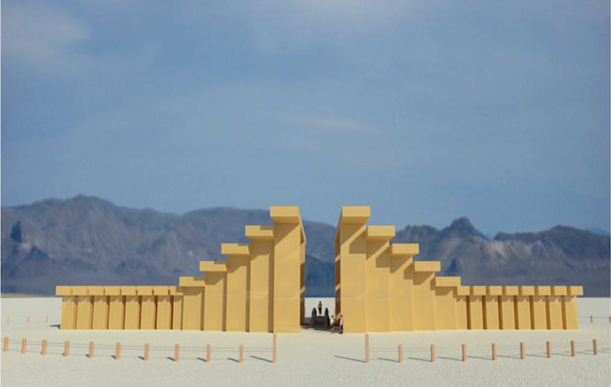 A computer graphics rendering of the Temple of Direction at the 2019 edition of Burning Man.