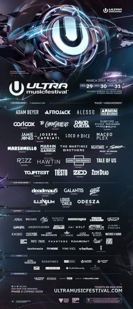 Ultra Music Festival's 2019 Phase 1 Lineup Announcement.