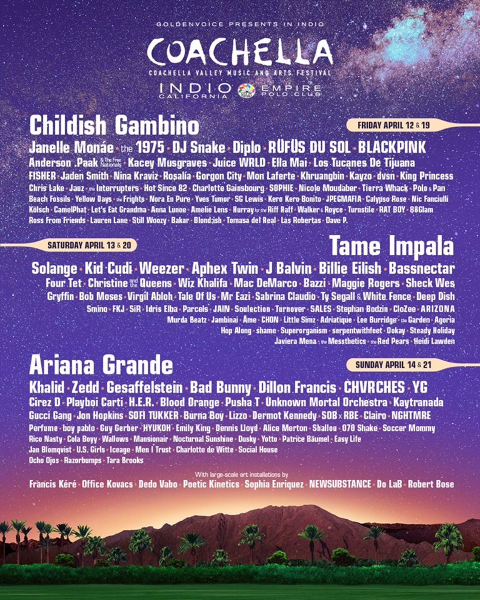 The lineup flyer for the 2019 edition of Coachella, including EDM acts like DJ Snake, Diplo, Bassnectar, Aphex Twin, Dillon Francis, Zedd, Jauz and others.