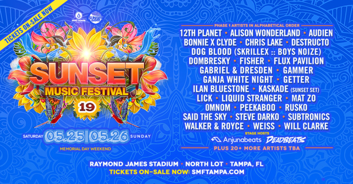Flyer for the Phase 1 lineup announcement for the 2019 edition of Sunset Music Festival (SMF) in Tampa, Florida.