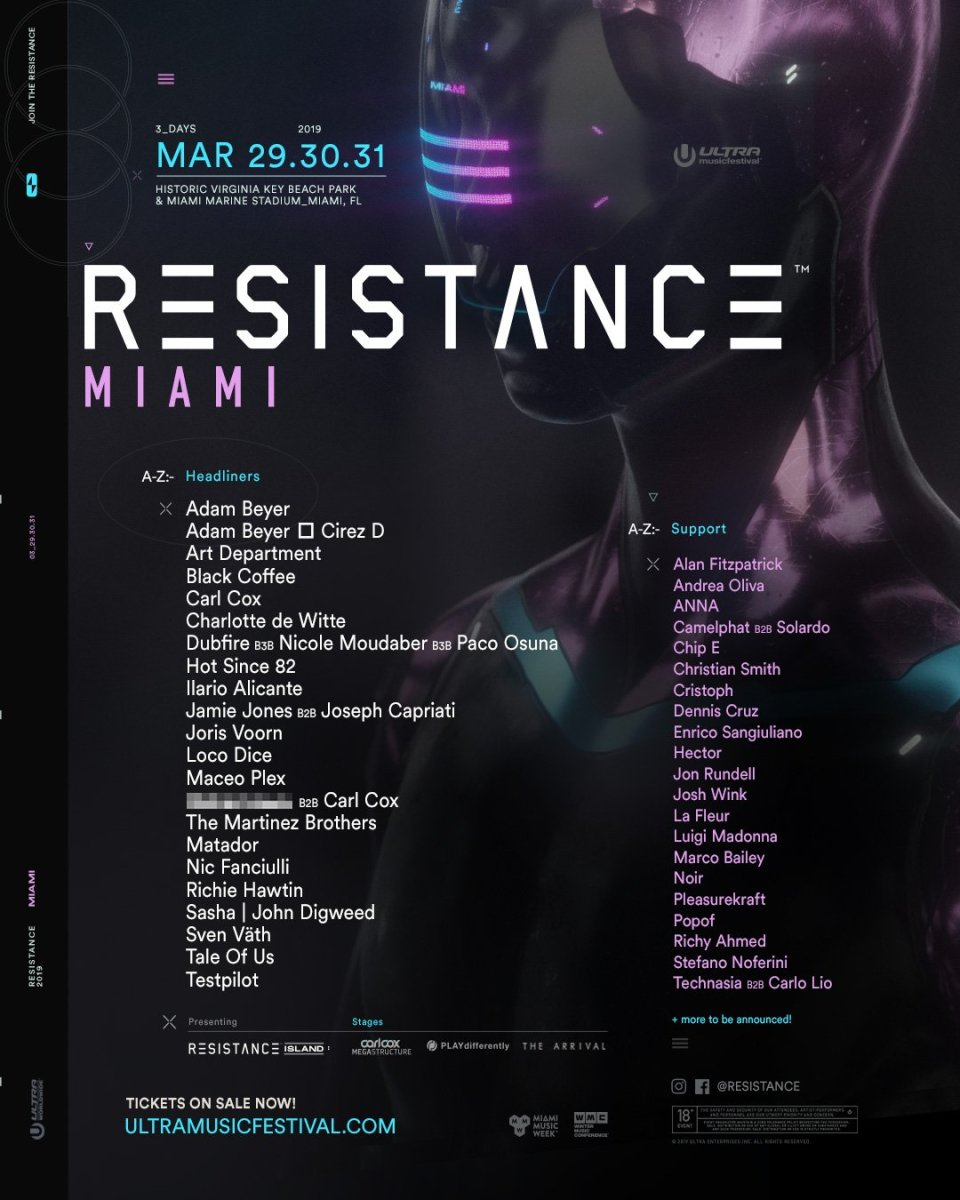 The first lineup announcement for RESISTANCE Island at the 2019 edition of Ultra Music Festival.